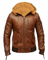 Mens Real Leather Hood Fur Jacket Bomber Aviator Tan Brown Retro