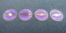 CHEVY BOWTIE WIRE WHEEL KNOCK OFF GOLD LILAC SPINNER CHIP INSERT SET SIZE 2.38