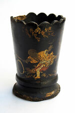 Antique Hand Painted Chinese Wood Cup Papier Mache Playing Ring Walking Sticks