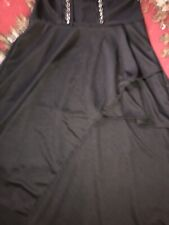 SKIRT Black Gothic witchy stretch silver looks pointy hem SZ XXL 12