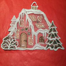Weihnachtsschmuck, Pfefferkuchenhaus, geklöppelt, Fenster-oder Türdekoration