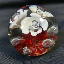 VINTAGE St Clair Art Clear Bubbles +Glass Paperweight Bright White & Red Flowers