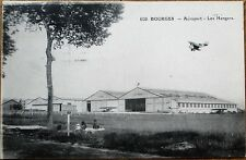Bourges Aeroport/Airport Hangar & Airplane 1936 French Aviation Postcard