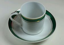 EXPRESSO 4 CUPS AND SAUCERS  BY STANLEY ROBERTS PRESTIGE HUNTER GREEN GOLD RIM