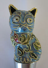 Chinese Beijing Cloisonne Pale Turquoise Cat Wine Bottle Stoppers