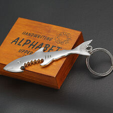 Cool Shark Shaped Metal Beer Bottle Opener Key Chain Ring Cap Glaze Opening Tool