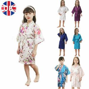 Children Kimono Robe Silk Satin Flower Girls Dress Nightwear Kids  Dressing  r