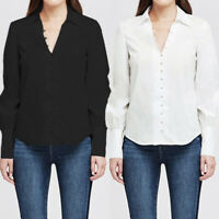 Plus Size Women Look Satin Blouse Long Sleeve Party OL Shirt Ladies Buttons Tops