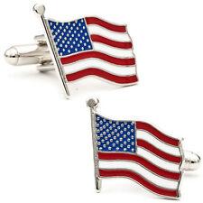 New Mens USA America Flag Wedding Cufflinks Novelty Stars & Stripes Americana