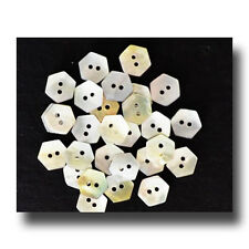 """Lot of 10 Mini-Hexagon Mother of Pearl Two Hole Buttons 3/8"""""""