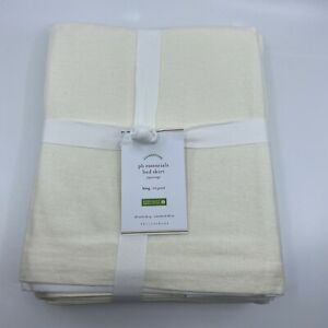 NEW Pottery Barn PB Essential Cotton Bed Skirt Juponnage King Off White