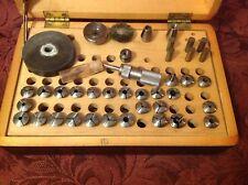 Antiqùe Watchmaker Lathe Accessories & Attachment In Original Box