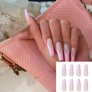 24pcs Detachable False Nails Ballerina Wearable Pink Fake Nails Full Cover Long#