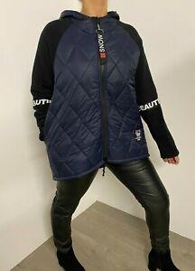 Jacket Quilted Navy Navy Life is Beautiful Slogan Lightweight Coat Hood Stylish