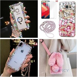 3D Women Bling Diamonds Case phone Cover With 2 Tempered Films & Crystal Strap A