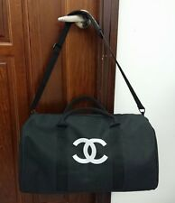 Chanel Duffel Travel Gym Shoulder Gift Bag w/Removable Strap Silk Print Logo @1