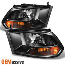 Fits Black 2009-2018 Dodge Ram 1500/2500/3500 Headlights Lamps Light LH+RH Pair