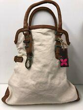 Frauen Tasche braun Kunstleder- & Creme Canvas Stoff-gute Qualität 41cm x 39cm