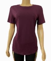 Victorias Secret PINK Everyday Solid Crew-Neck Tee T-Shirt Top Burgundy