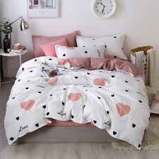 4pcs Heart Printed Bed Cover Set Duvet Cover Bed Sheets Bedding Set Home Textile