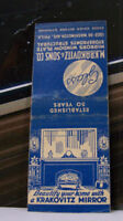 Rare Vintage Matchbook Cover D3 Philadelphia Pennsylvania Krakovitz Mirror Sons