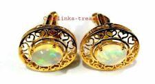 Natural Ethiopian Opal Gemstone 925 Sterling Silver Gold Plated Men's Cufflinks