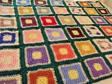 "Vtg Granny Square Crocheted Afghan Green Multi Colorful 8"" Blocks Handmade 50x56"