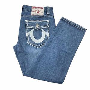 True Religion Joey Super T Jeans Mens 42x34 Medium Wash Straight USA Made