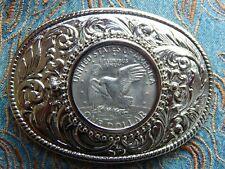 Neue Silber Metall Gürtelschnalle USA American große One Dollar Eagle Western Cowboy