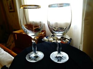 Set of 2 stemmed wine glasses with gold decoration 300 ml