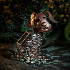 Smart Garden Ornament Metal Scroll Dog Solar Light Outdoor Patio Animal Decor