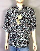 vtg 80s 90s Prism NOS Deadstock 100% Rayon SS Shirt Camp Artsy Busy sz XL