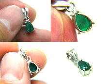 Estate Vintage Columbian Green Emerald 18k White Gold Pendant for Chain Necklace
