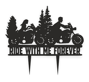 Motorbike Wedding Engagement high-quality cake topper silhouette