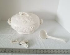 Vintage Electric Porcelain Ceramic Soup Tureen W/ Lid Ladle & Power Cord Japan
