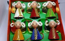 6 Vintage West Germany Angels Christmas Ornaments in Box Wood Velvet 2 inches