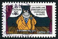 TIMBRE FRANCE  AUTOADHESIF OBLITERE N° 63 SOURIRES / LE CHAT / PHILIPPE GELUCK