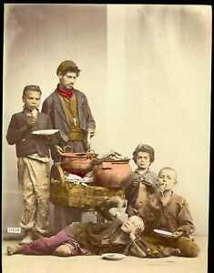 Italy ~ BOYS EATING PANCAKES ~ Giorgio Sommer Tinted Albumen Photo ta212