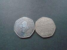 2013 Benjamin Britten & 2019 Sherlock Holmes 50p piece coins