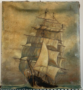 Old Antique Oil Painting Of Naval Maritime Ship On Canvas. Restoration Project.