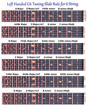 LEFT HANDED C6 SLIDE RULE CHART FOR 6 STRING STEEL GUITAR - LAP PEDAL - LEFTY