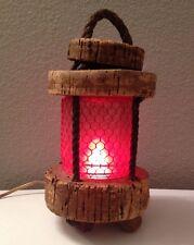 ☆Vintage☆ CORK & ROPE NAUTICAL MARINE BEACON TABLE LAMP Retro Cottage Ocean Sea