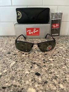 NEW RAY-BAN TOP BAR RB3183 002/9A 63MM BLACK / GREEN POLARIZED SUNGLASSES