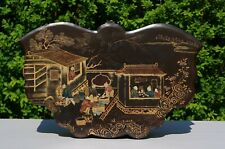 V-LARGE Chinese Butterfly-Shaped Lacquered Gilt Figure Floral Box & Cover 19th C