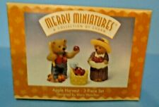 Hallmark Merry Miniatures Set Apple Harvest 1997 Three Piece Set