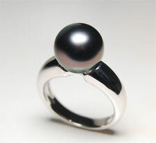Genuine stunning natural round AAA+ 10-11mm tahitian black pearl ring + box
