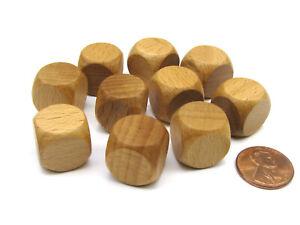 Pack of 10 16mm Wooden Blank Dice - 'Dark' Wood