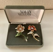 New Set of 2 Signed NOLAN MILLER Green Coral Pink Enamel Rhinestone Flower Pins