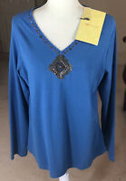NEW Denim & Co QVC Blue Embellished Long V-Neck Sweater Size MEDIUM NWT