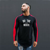 Men's Gym DO THE WORK Long Sleeve T Shirts Top Athletic Compression Wear Apparel